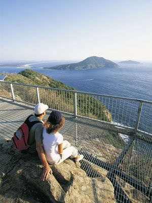 View from Tomaree Headland, looking across the entrance of the bay of Port Stephens, NSW, towards Yacaaba at Hawks Nest. / photo by Hamilton Lund...