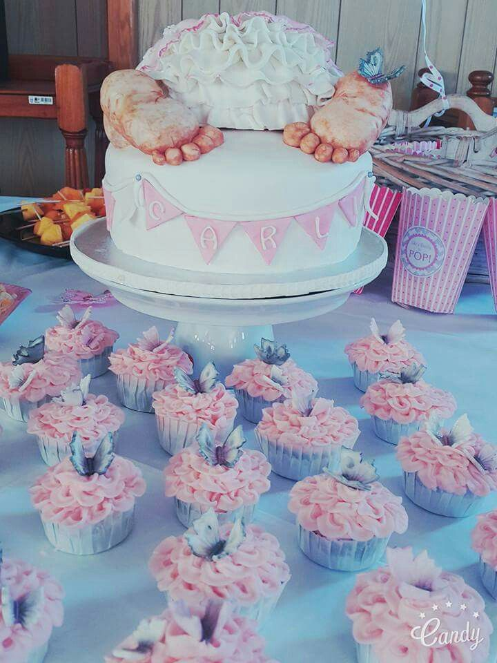 Cavell Steenkamp Baby Shower cake theme butterflies colours pink grey and white