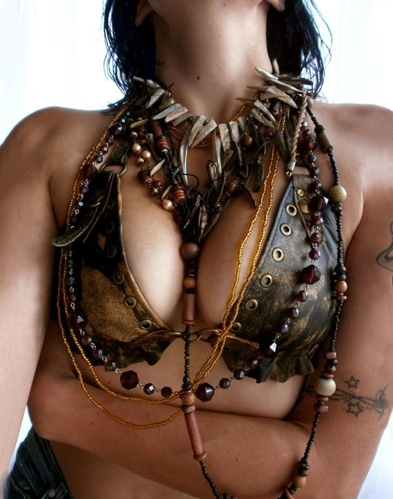 Dream Warriors worn out rust brown leather halter bra / triangle bikini top. Pixie elf voodoo tribal shaman burning man costume