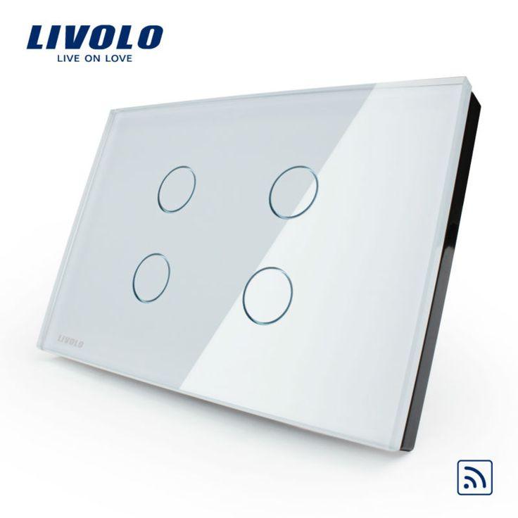 Производитель, Livolo Touch и Дистанционный Переключатель, стандарт США, VL-C304R-81, хрусталь Стеклянные Панели, настенные Светильники Сенсорный Выключатель + СВЕТОДИОДНЫЙ Индикатор