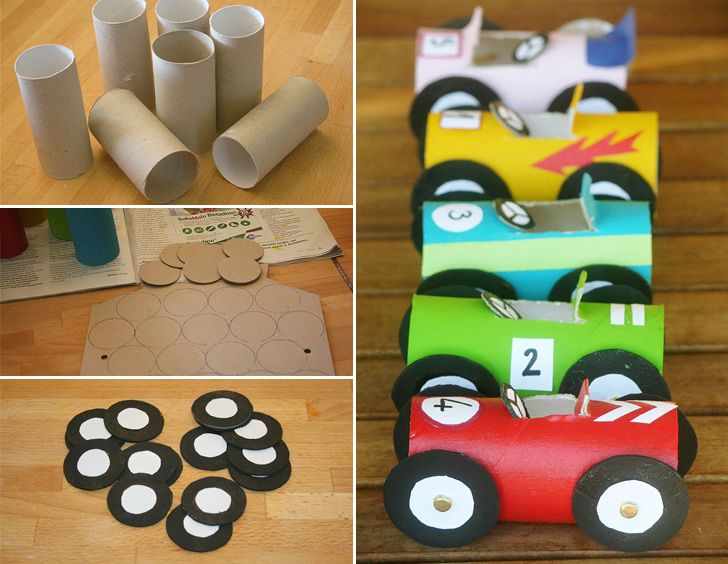 vehicle crafts for preschoolers | Toilet Paper Roll Race Cars Collage