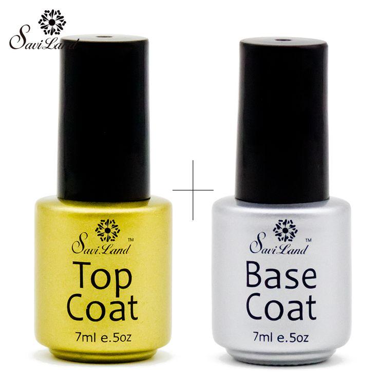 Saviland Base Top Coat Gel UV LED di Lunga durata Nail Polish Soak-off per Primer Non-pulizia fondazione Nails Colla 7 ml