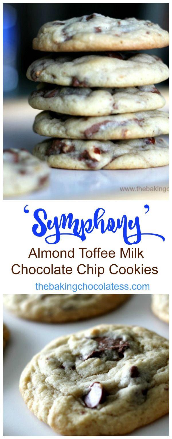 'Symphony' Almond Toffee Milk Chocolate Chip Cookies via @https://www.pinterest.com/BaknChocolaTess/