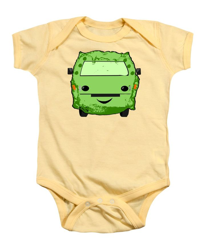 Car Baby Onesie featuring the mixed media Poopmobile In Green by Sverre Andreas Fekjan
