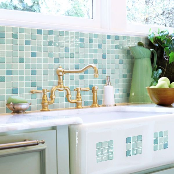 Self Adhesive Wall Tiles Peel And Stick Kitchen Bathroom Backsplash Blue Squares