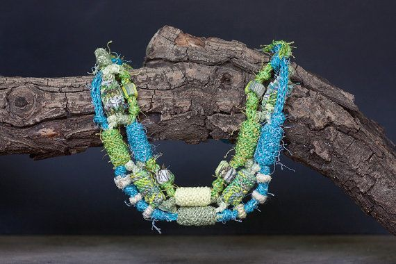 Multi strand necklace in blue and green Beaded by rRradionica
