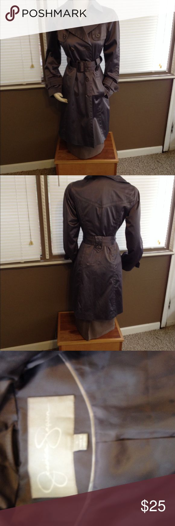 Beautiful Jessica Simpson trench coat Used. Very good condition. Gray trench coat. Missing two buttons underneath collar Jessica Simpson Jackets & Coats Trench Coats