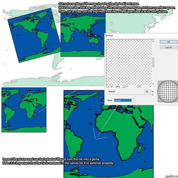 cartoon earth drawing step 3: cut out a square tile and save it as a new file. Open up the new file and use the 'spherize' filter to turn the tile into a globe.