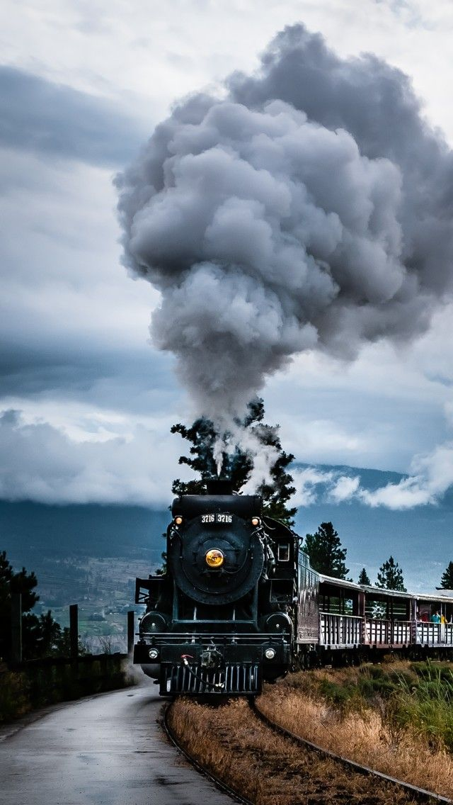 Train on the tracks, BC, Canada