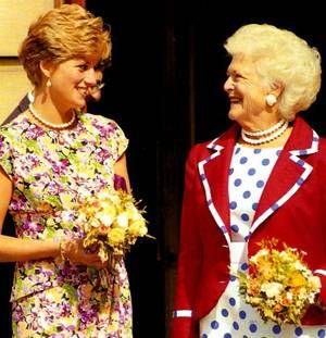 July 17, 1991: Princess Diana & Mrs. Barbara Bush visit an AIDS unit at the Middlesex Hospital.