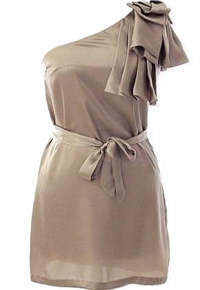 Champagne Party Dress: Features a beautiful one-shoulder design accented with origami-style pleats and ruffles for dramatic flair, adjustable ribbon belt at waist, and sumptuous satin fabric throughout to finish.