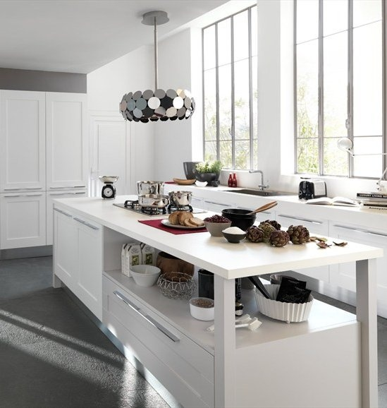 Fitted #kitchen with island GALLERY by Cucine Lube #white