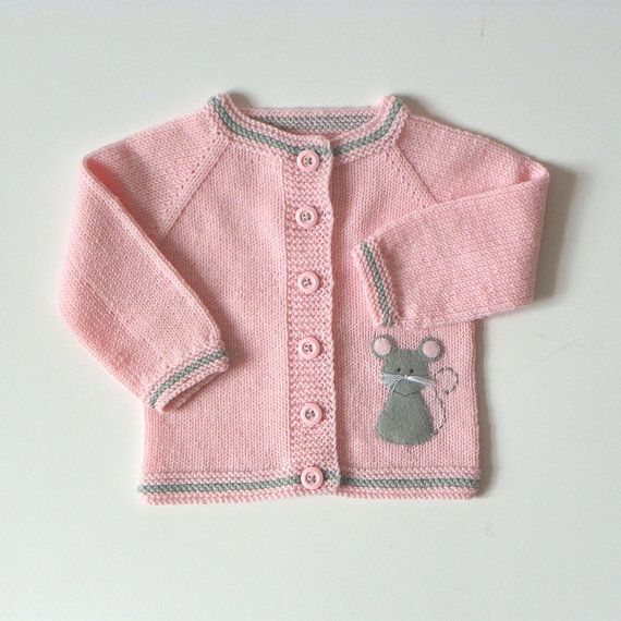 Light pink baby girl jacket with mice knit merino sweater with grey mouse MADE…