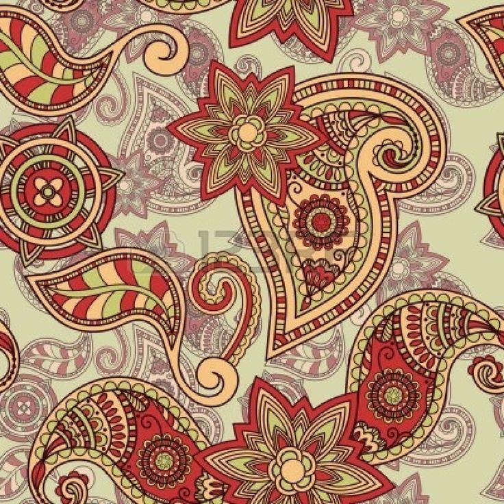 seamless hand drawn paisley pattern