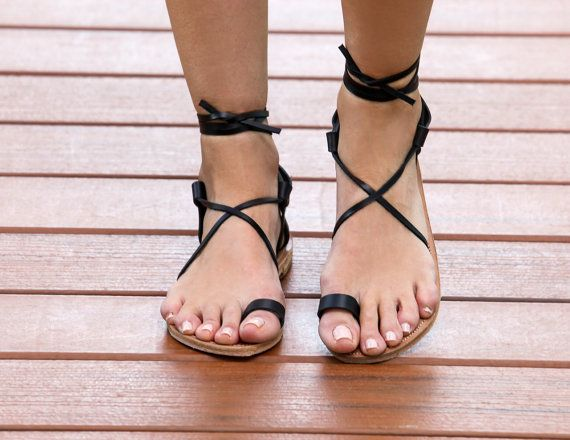 FREE SHIPPING- Crete Black- A handmade, laser cut all leather sandal in black.  Detailed heel with leather laces and toe strap.