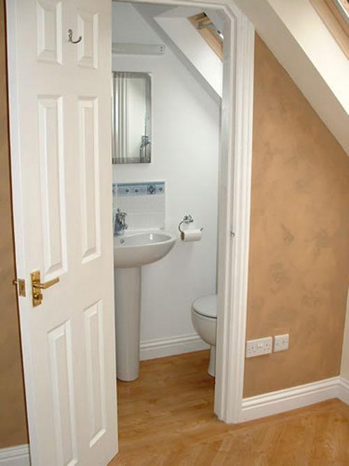 Best 25 small attic bathroom ideas on pinterest attic for Bathroom designs under stairs