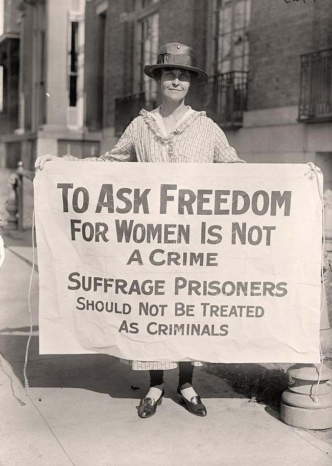 "A woman suffrage activist protesting after ""The Night of Terror."" [1917] 33 suffrage activists had been arrested for 'obstructing traffic' and were badly beaten by prison guards."