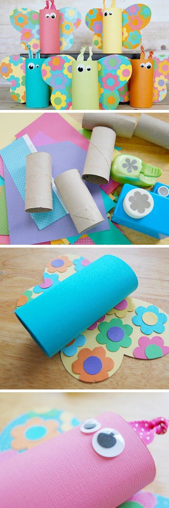 These cheerful butterflies made from toilet paper rolls are a lovely spring craft for preschoolers and younger kids!