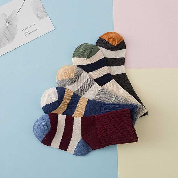 The new winter leisure all-match wholesale socks stripe flanging  Price: 14.21 USD