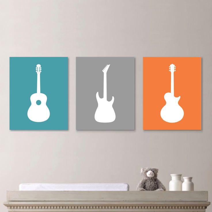 Baby Boy Nursery Art Print - Guitar Nursery Art - Boy Nursery Decor - Rock and Roll Art - Guitar Nursery. Guitar Decor. Orange Blue (NS-662) by RhondavousDesigns2 on Etsy https://www.etsy.com/listing/204267092/baby-boy-nursery-art-print-guitar