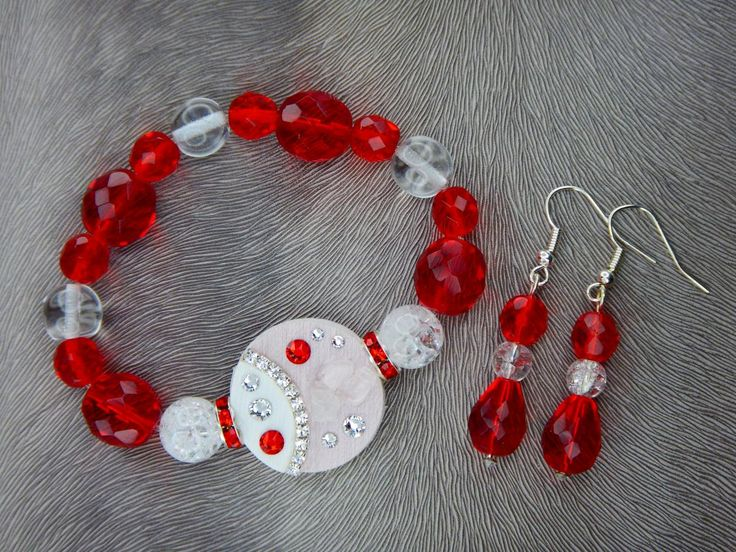Bracelet and earrings, Swarovski, minerals, red and white, luxury
