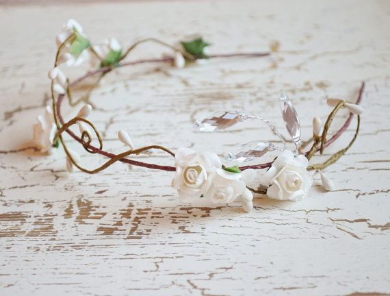 Wedding hair crown floral tiara white flower by gardensofwhimsy
