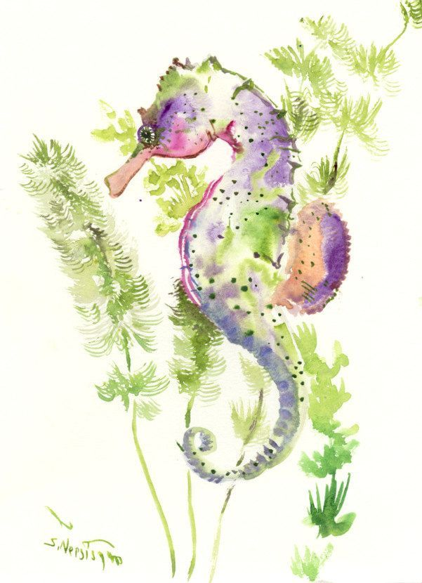 Seahorse Art, One of a kind original watercolor painting sea world illustration…