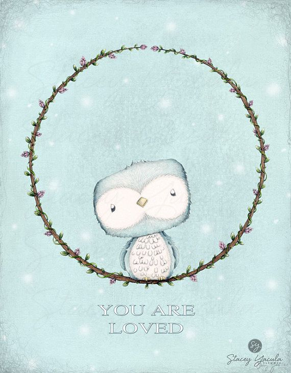 illustration Art Print Turquoise Owl Love L'l by staceyyacula, $20.00