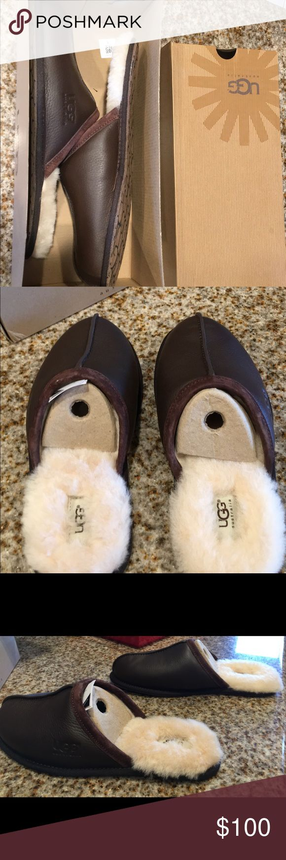 MEN UGG SLIPPERS (brand new) Size 10 in Men. NEVER been worn. In PERFECT condition, no flaws. Selling bc I lost receipt & I cant return these w/o it! Originally bought for $122. UGG Shoes Slippers