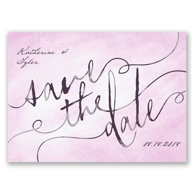 The beauty of watercolor sets the stage for your wedding date on these uniquely stylish, save the date postcards. The words 'Save the Date' are printed in black against your choice of background color on the front. Your wording is printed in your choice of colors and fonts on the front and back. Save the date postcards require no envelopes for mailing and need only postcard-rate stamps.