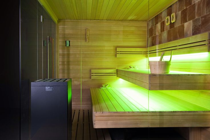 Sauna with green lighting.