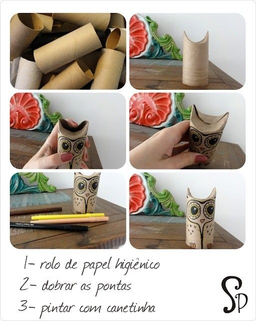 Owls from toilet paper rolls in packagings diy cardboard  with toilret paper roll owl Craft