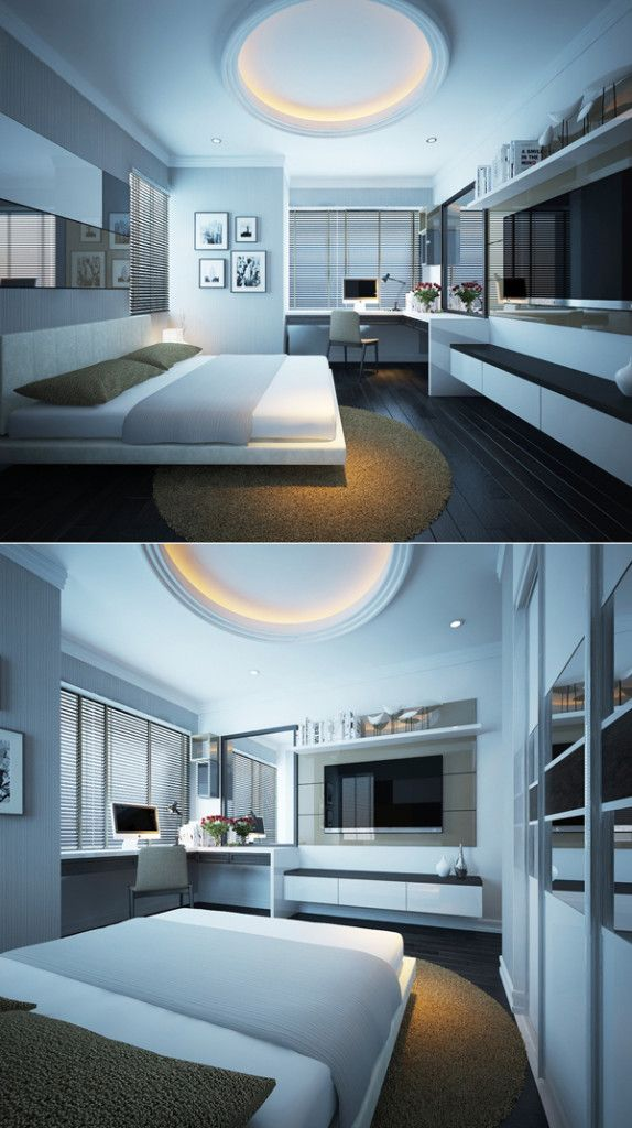 A good solution to a room with oddly placed windows and bump out that provides for a variety of functions and lots of storage.  modern-white-platform-bed-ideas