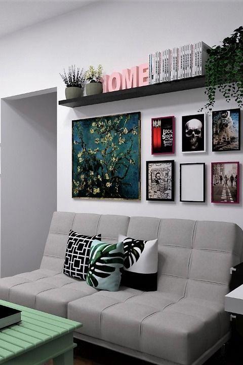 4edb195ee Ideia de sala de estar pequena. Decoração com quadros decorativos e cinza.   SalaPequena