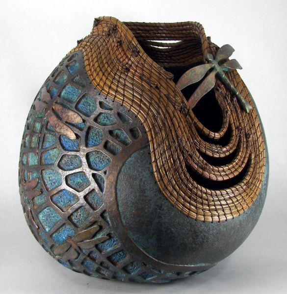 Gourd carved. Finish is Ron Young's metal coating and patina. By Judy Richie #Crafts