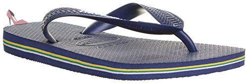 Authentic-Brasil Logo Original Havaianas Tongs Sandales de plage - Bleu - Bleu marine, 44 EU - Chaussures havaianas (*Partner-Link)