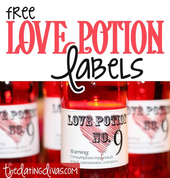 Grab these #FREE Love Potion Drink Labels for your upcoming #Valentine party or just for a night in with your sweetheart!  www.TheDatingDivas.com #printable