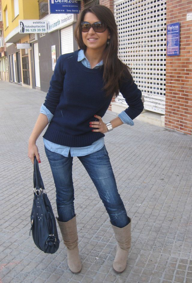 Preppy. Navy sweater. jeans. Boots.