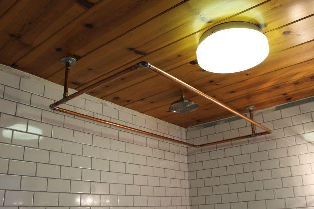 DIY Copper Shower Rod - Ceiling mount!