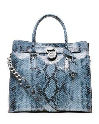 The Michael Kors Large Hamilton Python Print Blue Tote Bag is a top 10  member favorite on Tradesy.