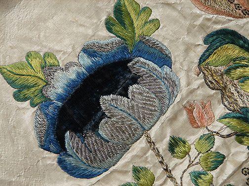 Maria Niforos - Fine Antique Lace, Linens & Textiles : Early Items # EI-17 Circa 18th C. Italian Silk & Velvet Embroidered Panel