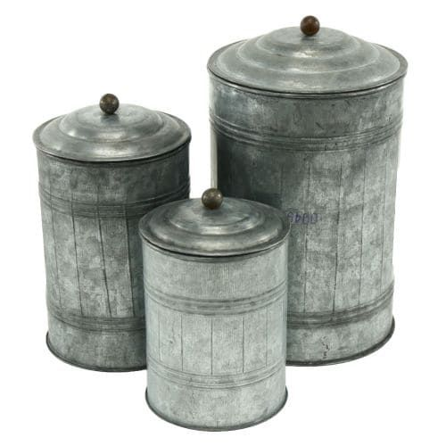 Aspire Home Accents 3128 Galvanized Metal (Grey) Canisters (Set of 3)