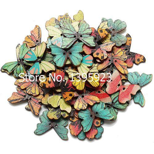 2014 la venta caliente 50pcs 2 Agujeros Mixed mariposa de color Botones de madera arte de costura Scrapbooking Fit 28mm DIY Envío Gratis en Botones de Moda y Complementos en AliExpress.com | Alibaba Group