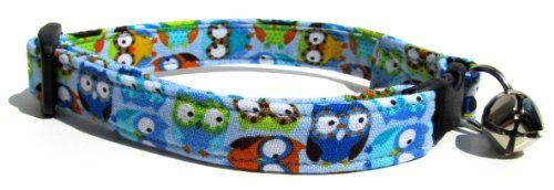 Breakaway Cat Collar in Blue Owls Handmade in the USA ** Find out more about the great product at the image link.