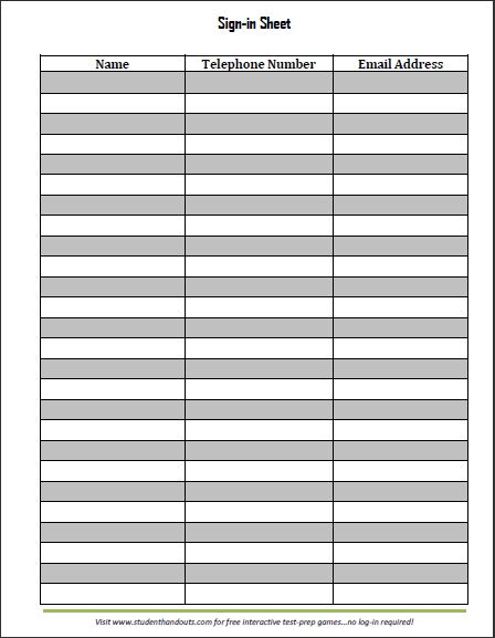 Conference Sign In Sheet Template Curriculum Night Materials