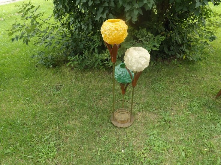 """Danish Mid Century Modern Spaghetti Lamp. Yellow, white and Green shades. Made of brass and teak wood. Stands approx. 46"""" tall.Has normal signs of years of using, 2-3 small chips. Brass has some blisters & missing one leaf that could face a wall. 