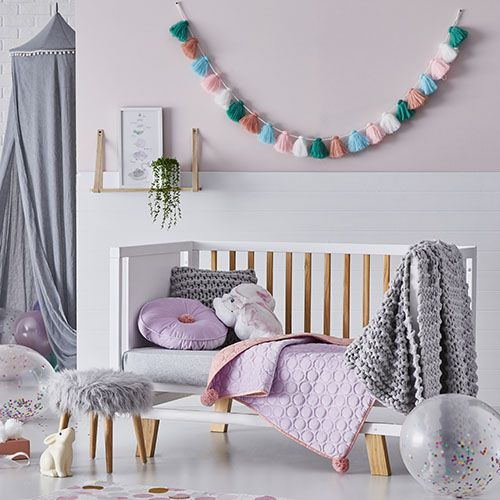 Cambridge Cot Velvet Coverlet Lilac