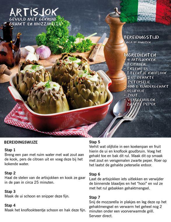Recept voor artisjok gevuld met gekruid gehakt mozzerella #Italie #Lidl #Italiamo