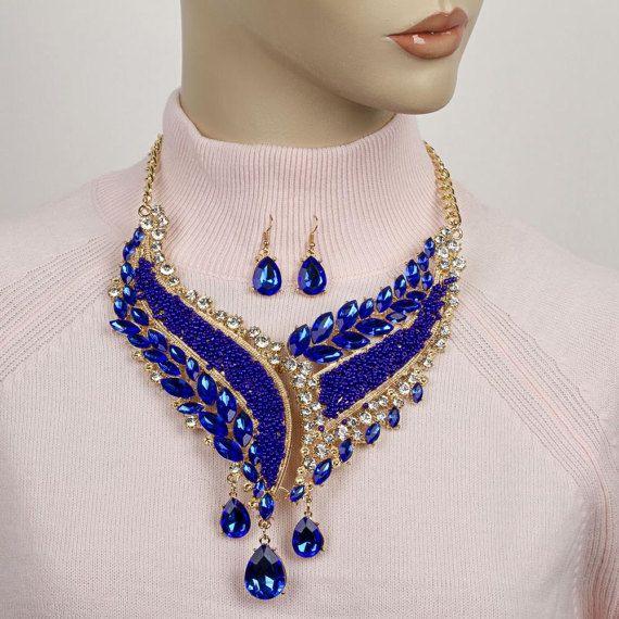 Blue crystal NecklaceFormal crystal statement necklace