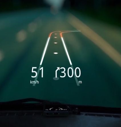 iOS app Hudway turns your car's windshield into a 3-dimensional augmented reality GPS display. ~  Adam Albright-Hanna